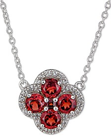 "Rhodolite Garnet (1-1/4 ct. t.w.) & White Topaz (1/6 ct. t.w.) Clover 18"" Pendant Necklace in Sterling Silver (Also in Blue Topaz, Amethyst & Multi-Stone)"