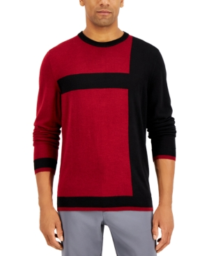 Men's Vintage Sweaters History Alfani Mens Merino Blend Blocked Crewneck Sweater Created for Macys $29.99 AT vintagedancer.com