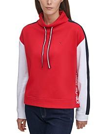 Colorblocked Mock Neck Sweatshirt