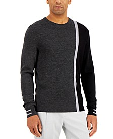 Men's Striped Textured Crewneck  Sweater, Created for Macy's