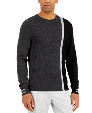 Men's Vintage Sweaters History Alfani Mens Striped Textured Crewneck Sweater Created for Macys $29.99 AT vintagedancer.com