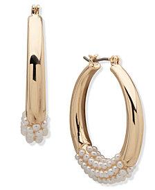 """Anne Klein Pearl Hoop Earrings 1.2"""""""