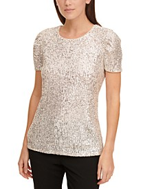 Sequined Ruched-Sleeve Top