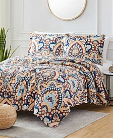 Georgetown Damask 3-Piece Reversible Quilt Set, Queen