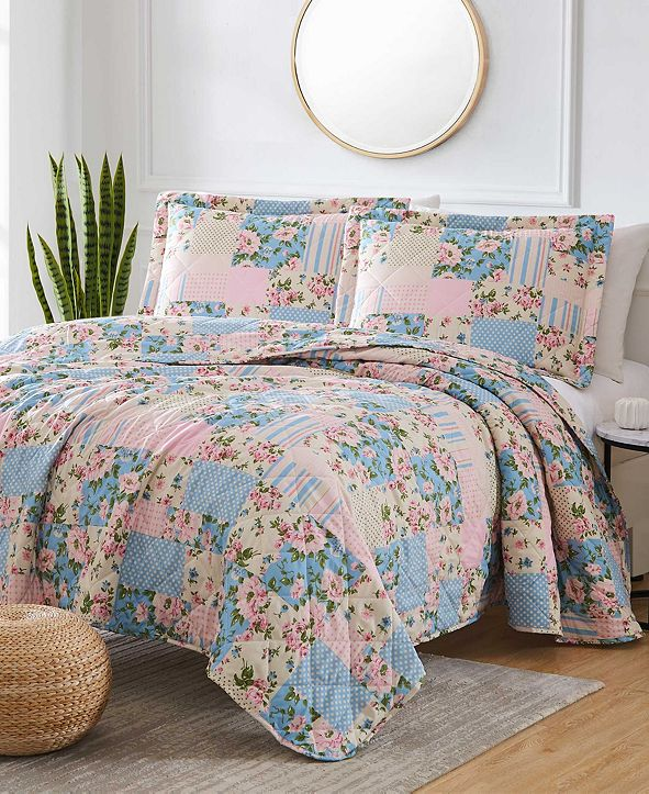 Olivia Gray St. Croix Americana Patch 3-Piece Reversible Quilt Set, Queen