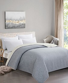 Plush Sherpa and Faux Fur Reversible Blanket with Diamond Knitting, Full/Queen