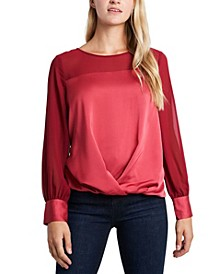 Women's Long Sleeve Fold Over Front Mixed Media Blouse
