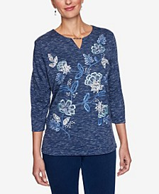 Women's Plus Size Denim Friendly Allover Floral Embroidered Top
