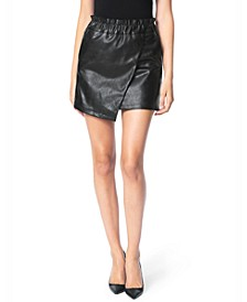 Faux-Leather Paperbag Skirt
