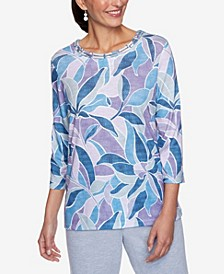Women's Plus Size Relaxed Attitude Stained Glass Print Top