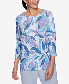 Alfred Dunner Women's Plus Size Relaxed Attitude Stained Glass Print Top