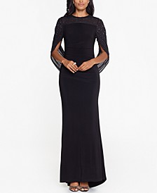 Cape-Sleeve Gown