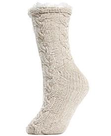 Cable Chenille Plush Lined Women's Slipper Sock