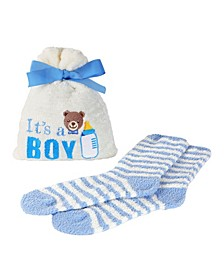 It's a Boy Cosy Women's Socks with Gift Bag, Set of 2