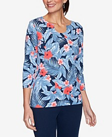 Women's Misses Tropical Floral Print Top