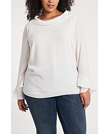 Women's Plus Size Flutter Cuff Blouse