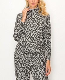 Women's Zebra French Terry Built-In Mask Hoodie