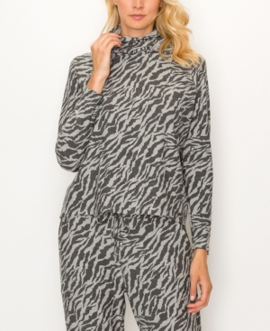 1804 Women's Zebra French Terry Built-In Mask Hoodie