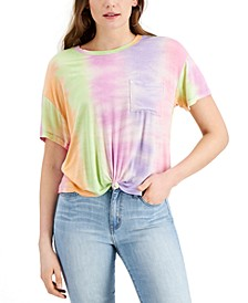Juniors' Tie-Dyed Front-Knot T-Shirt