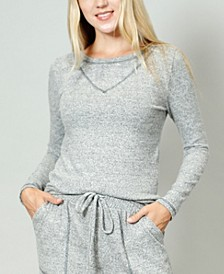 Women's Cozy Contrast Stitch Long-Sleeve T-shirt