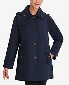 Single-Breasted Hooded Raincoat