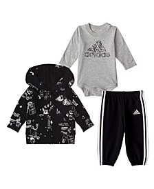 Baby Boys 3 Piece Fleece Jacket, Bodyshirt and Jogger Pants Set