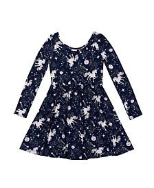 Big Girls Long Sleeve All Over Print Ruffle Waist Skater Dress