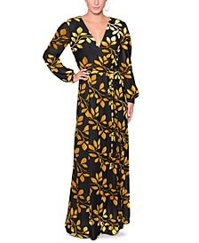 V-Neck Floral-Print Maxi Dress