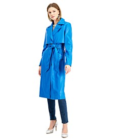 INC Faux-Leather Trench Coat, Created for Macy's