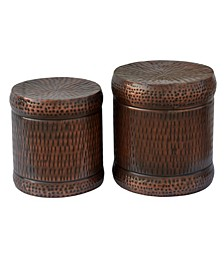 Lindy Hammered Metal Accent Stools, Set of 2