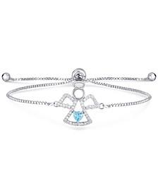 Blue Topaz (1/3 ct. t.w.) & Cubic Zirconia Angel Bolo Bracelet in Sterling Silver