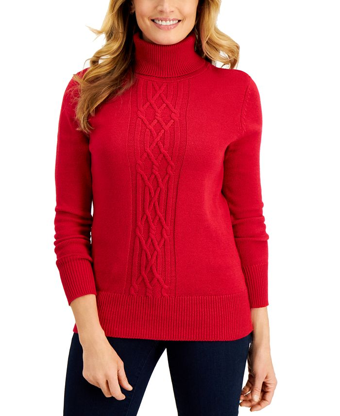 Karen Scott - Cable-Front Turtleneck Sweater