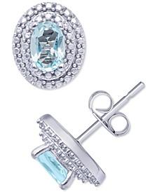 Blue Topaz (1-1/8 ct. t.w.) & Cubic Zirconia Oval Halo Stud Earrings in Sterling Silver