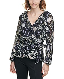 Printed Ruffled Faux-Wrap Top