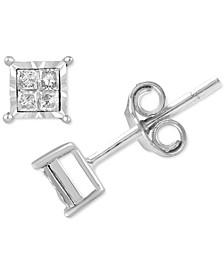 Diamond Princess-Cut Stud Earrings (1/10 ct. t.w.) in Sterling Sliver