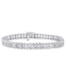 Diamond Double Row Bracelet (1 ct. t.w.) in Sterling Sliver