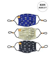 x Best Friends Unisex Kids Paw Print Geo Pleated Reversible Mask, 3 Pack