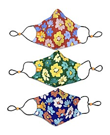 x Best Friends Unisex Flower Curved Mask, 3 Pack