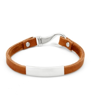 Men's Id Brown Leather Fish Hook Bracelet