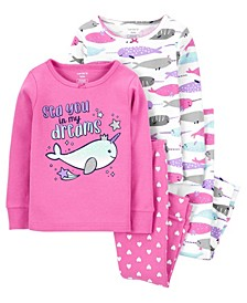Carters Toddler Girl 4-Piece Narwhal 100% Snug Fit Cotton PJs