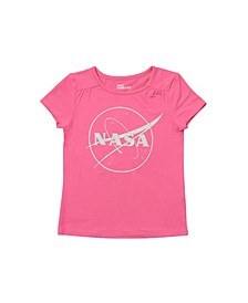 Toddler Girls Short Sleeve Graphic with Text Tee
