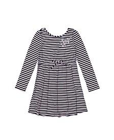 Little Girls Long Sleeve Tie Waist Striped Dress