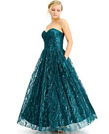 Juniors' Corset Glitter Gown