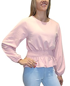 Juniors' Smocked-Waist French Terry Pullover
