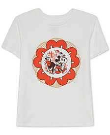 Juniors' Mickey Mouse Floral T-Shirt