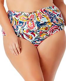 Plus Size O-Ring Paisley-Print Bikini Bottoms