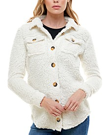 Juniors' Faux-Sherpa Button-Front Shirt