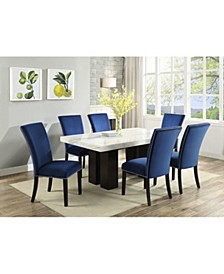 Camila Rectangle Dining Table and Blue Velvet Dining Chair 7-Piece Set, Created for Macy's