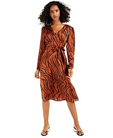 Animal-Print Puff-Sleeve Midi Dress, Created for Macy's