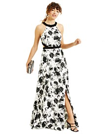 Juniors' Strappy-Back Floral-Print Gown, Created for Macy's